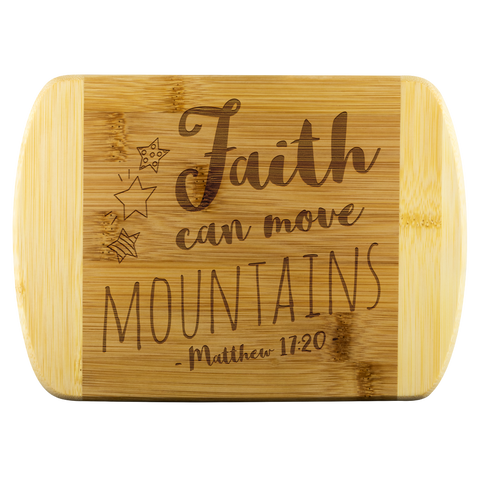 Bible Verses Wood Cutting Board - Matthew 17:20 (Design 4) - Meditate Healing Christian Store