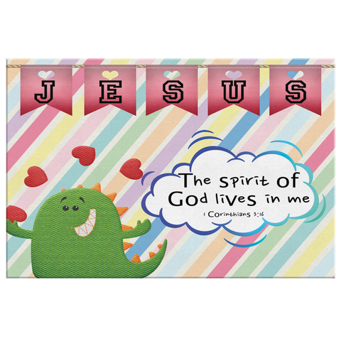 Hope Inspiring Nursery & Kids Bedroom Framed Canvas Wall Art - Spirit Of God Lives In Me ~1 Corinthians 3:16~ (Design: Dinosaur)