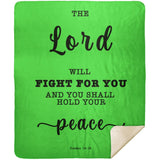 Typography Premium Sherpa Mink Blanket - The Lord Will Fight For You ~Exodus 14:14~