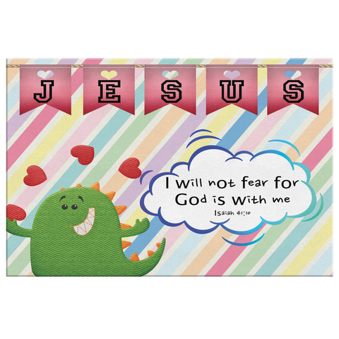 Hope Inspiring Nursery & Kids Bedroom Framed Canvas Wall Art - God Is With Me ~Isaiah 41:10~ (Design: Dinosaur)