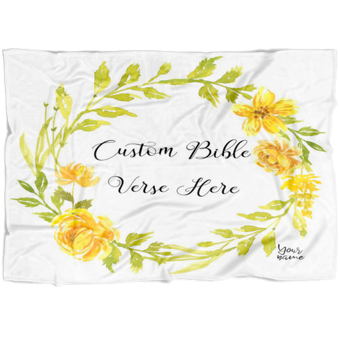 Customizable Artistic Minimalist Bible Verse Premium Mink Sherpa Blanket With Your Signature (Design: Square Garland 7)