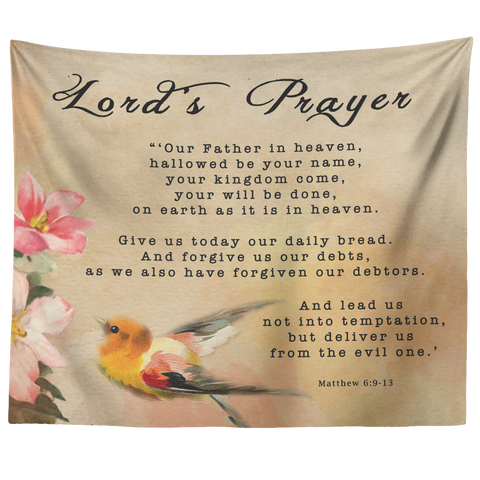 Bible Verses Tapestry Lord's Prayer ~Matthew 6:9-13~ (Design: Bird 1)
