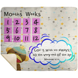 Cozy Plush Baby Milestone Blanket - God Is With Me Always ~Matthew 28:20~ (Design: Monkey)