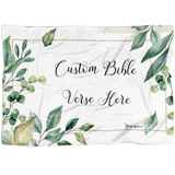 Customizable Artistic Minimalist Bible Verse Premium Mink Sherpa Blanket With Your Signature (Design: Rectangle Garland 8)