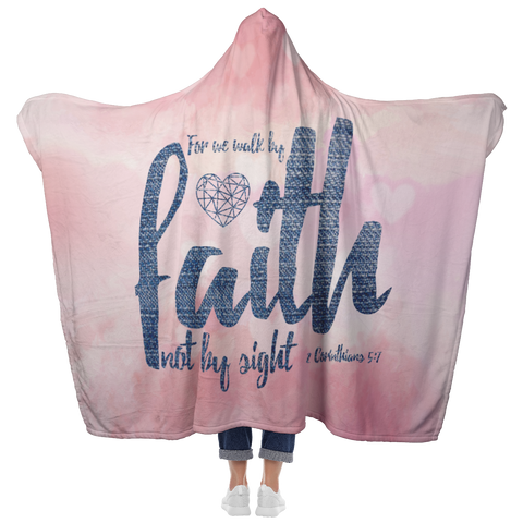 Bible Verses Hooded Blanket - 2 Corinthians 5:7 Design 6