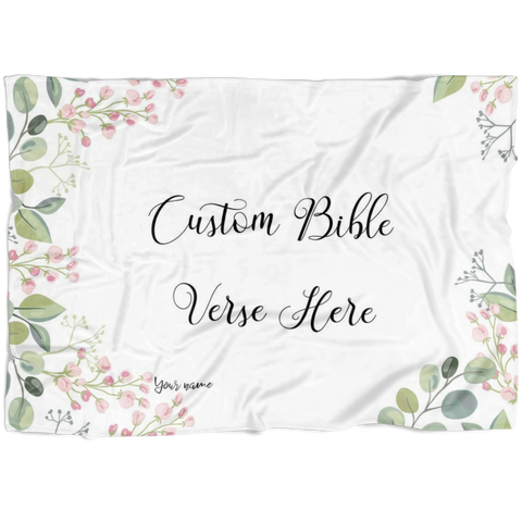 Customizable Artistic Minimalist Bible Verse Premium Mink Sherpa Blanket With Your Signature (Design: Rectangle Garland 9)