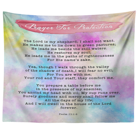 Bible Verses Tapestry Prayer for Protection ~Psalm 91:1-8~ (Design: Watercolor 1)