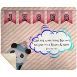 Hope Inspiring Kids Snuggly Blanket - God Has Great Plans For Me ~Jeremiah 29:11~ (Design: Panda 2)