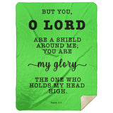 Typography Premium Sherpa Mink Blanket - The Lord Is My Shield ~Psalm 3:3~