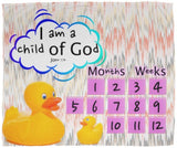 Cozy Plush Baby Milestone Blanket - I Am A Child Of God ~John 1:12~ (Design: Ducks)