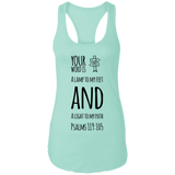 "Bible Verses Ladies Ideal Racerback Tank - ""Psalm 119:105"" Design 19 (Black Font) - Meditate Healing Christian Store"