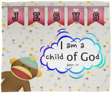 Hope Inspiring Kids Snuggly Blanket - I Am A Child Of God ~John 1:12~ (Design: Monkey)