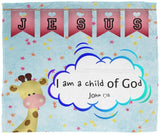 Hope Inspiring Kids Snuggly Blanket - I Am A Child Of God ~John 1:12~ (Design: Giraffe 2)