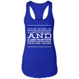 "Bible Verse Ladies Ideal Racerback Tank - ""Psalm 119:105"" Design 11 (White Font) - Meditate Healing Christian Store"