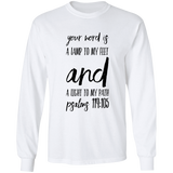 "Bible Verse Long Sleeve  Ultra Cotton T-Shirt - ""Psalm 119:105"" Design 9 (Black Font) - Meditate Healing Christian Store"