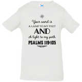 "Bible Verse Infant Jersey T-Shirt - ""Psalm 119:105"" Design 5 (Black Font) - Meditate Healing Christian Store"