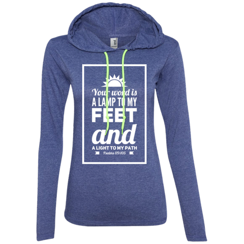 "Bible Verse Ladies' Long Sleeve T-Shirt Hoodie - ""Psalm 119:105"" Design 2 (White Font) - Meditate Healing Christian Store"