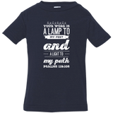 "Bible Verse Infant Jersey T-Shirt - ""Psalm 119:105"" Design 17 (White Font) - Meditate Healing Christian Store"
