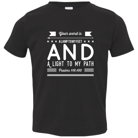 "Bible Verse Toddler Jersey T-Shirt - ""Psalm 119:105"" Design 14 (White Font) - Meditate Healing Christian Store"