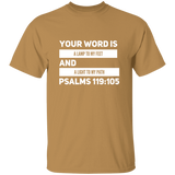 "Bible Verse Men 5.3 oz. T-Shirt - ""Psalm 119:105"" Design 21 (White Font) - Meditate Healing Christian Store"