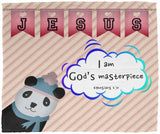Hope Inspiring Kids Snuggly Blanket - I Am God's Masterpiece ~Ephesians 2:10~ (Design: Panda 2)