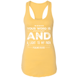 "Bible Verse Ladies Ideal Racerback Tank - ""Psalm 119:105"" Design 16 (White Font) - Meditate Healing Christian Store"
