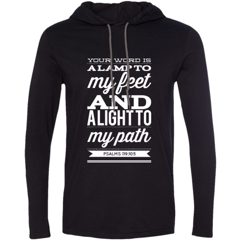 "Bible Verse Men Long Sleeve T-Shirt Hoodie - ""Psalm 119:105"" Design 15 (White Font) - Meditate Healing Christian Store"