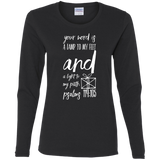 "Bible Verse Ladies' Cotton Long Sleeve T-Shirt - ""Psalm 119:105"" Design 18 (White Font) - Meditate Healing Christian Store"