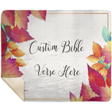 Customizable Artistic Minimalist Bible Verse Premium Mink Sherpa Blanket With Your Signature (Design: Rectangle Garland 6)
