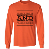 "Bible Verse Long Sleeve  Ultra Cotton T-Shirt - ""Psalm 119:105"" Design 11 (Black Font) - Meditate Healing Christian Store"