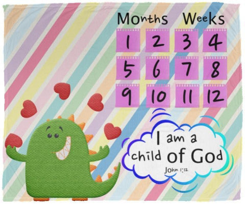 Cozy Plush Baby Milestone Blanket - I Am A Child Of God ~John 1:12~ (Design: Dinosaur)