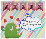 Hope Inspiring Kids Snuggly Blanket - Spirit Of God Lives In Me ~1 Corinthians 3:16~ (Design: Dinosaur)