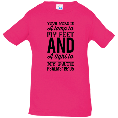"Bible Verse Infant Jersey T-Shirt - ""Psalms 119:105"" Design 3 (Black Font) - Meditate Healing Christian Store"