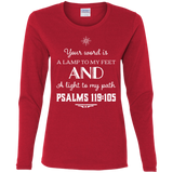 "Bible Verse Ladies' Cotton Long Sleeve T-Shirt - ""Psalm 119:105"" Design 5 (White Font) - Meditate Healing Christian Store"