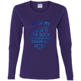 "Bible Verse Ladies' Cotton Long Sleeve T-Shirt - ""Psalm 61:2"" Design 17 - Meditate Healing Christian Store"