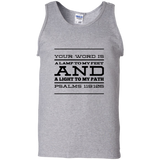 "Bible Verse Men 100% Cotton Tank Top - ""Psalm 119:105"" Design 11 (Black Font) - Meditate Healing Christian Store"