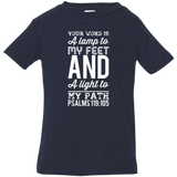 "Bible Verse Infant Jersey T-Shirt - ""Psalm 119:105"" Design 3 (White Font) - Meditate Healing Christian Store"