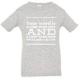 "Bible Verse Infant Jersey T-Shirt - ""Psalm 119:105"" Design 10 (White Font) - Meditate Healing Christian Store"