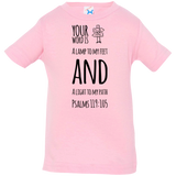 "Bible Verse Infant Jersey T-Shirt - ""Psalm 119:105"" Design 19 (Black Font) - Meditate Healing Christian Store"