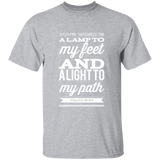"Bible Verse Men 5.3 oz. T-Shirt - ""Psalm 119:105"" Design 15 (White Font) - Meditate Healing Christian Store"
