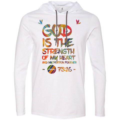 "Bible Verse Men Long Sleeve T-Shirt Hoodie - ""Psalm 73:26"" Design 7 - Meditate Healing Christian Store"