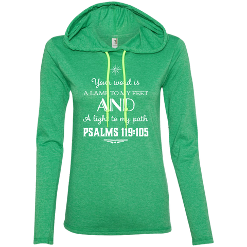 "Bible Verse Ladies' Long Sleeve T-Shirt Hoodie - ""Psalm 119:105"" Design 5 (White Font) - Meditate Healing Christian Store"