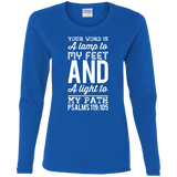 "Bible Verse Ladies' Cotton Long Sleeve T-Shirt - ""Psalm 119:105"" Design 3 (White Font) - Meditate Healing Christian Store"