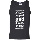 "Bible Verse Men 100% Cotton Tank Top - ""Psalm 119:105"" Design 6 (White Font) - Meditate Healing Christian Store"
