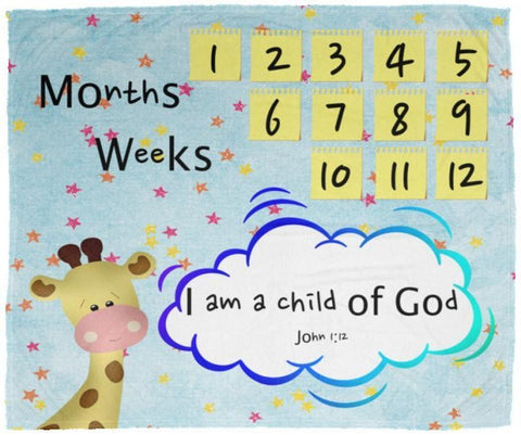 Cozy Plush Baby Milestone Blanket - I Am A Child Of God ~John 1:12~ (Design: Giraffe 2)