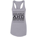 "Bible Verses Ladies Ideal Racerback Tank - ""Psalm 119:105"" Design 11 (Black Font) - Meditate Healing Christian Store"