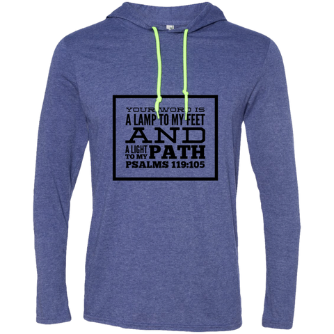 "Bible Verse Men Long Sleeve T-Shirt Hoodie - ""Psalm 119:105"" Design 13 (Black Font) - Meditate Healing Christian Store"