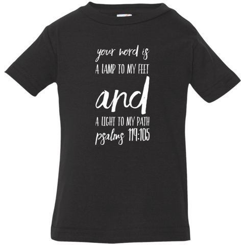 "Bible Verse Infant Jersey T-Shirt - ""Psalm 119:105"" Design 9 (White Font) - Meditate Healing Christian Store"