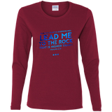 "Bible Verse Ladies' Cotton Long Sleeve T-Shirt - ""Psalm 61:2"" Design 12 - Meditate Healing Christian Store"
