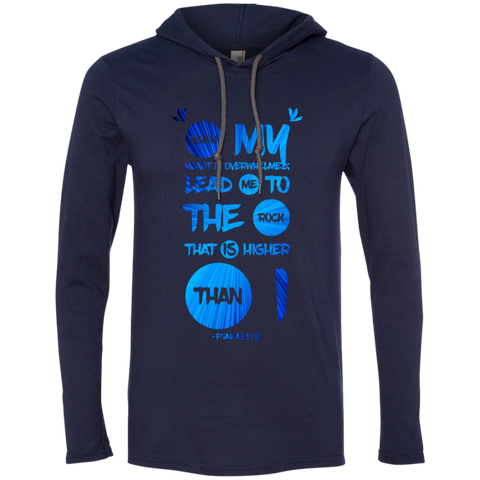 "Bible Verse Men Long Sleeve T-Shirt Hoodie - ""Psalm 61:2"" Design 9 - Meditate Healing Christian Store"